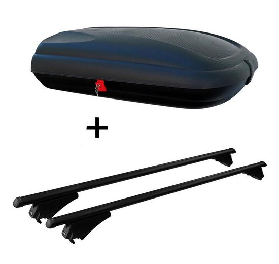 VDP Fahrradträger, Dachbox VDPBA320 320Ltr carbonlook abschließbar + Stahl Dachträger Tiger Relingträger kompatibel mit Peugeot 508 Station Wagonab 18