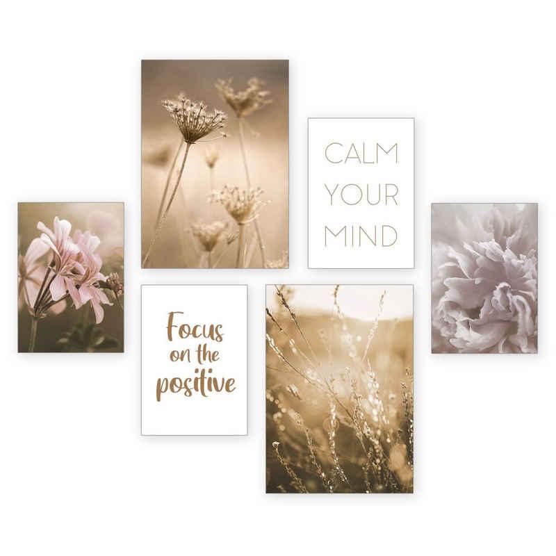 Kreative Feder Poster, Natur, Blüten, Blumen, Gräser, Entspannung, Spruch (Set, 6 Stück), 6-teiliges Poster-Set, Kunstdruck, Wandbild, Posterwand, Bilderwand, optional mit Rahmen, WP538