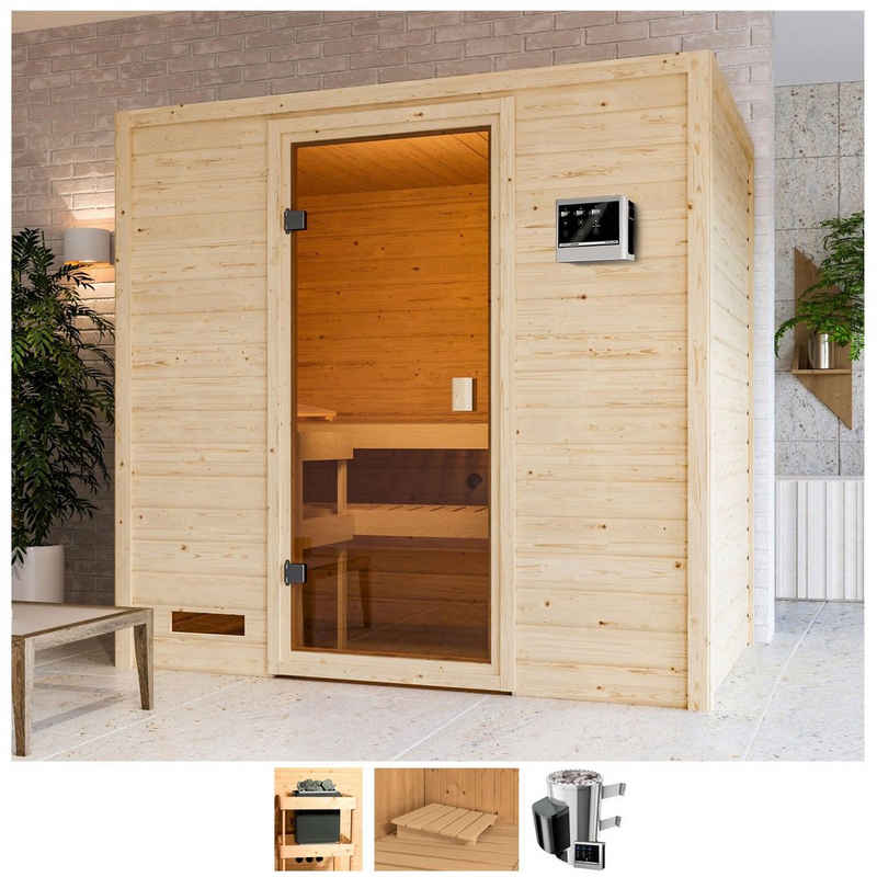Karibu Sauna »Sunie«, BxTxH: 195 x 145 x 187 cm, 38 mm, 3,6-kW-Plug & Play Ofen mit ext. Steuerung