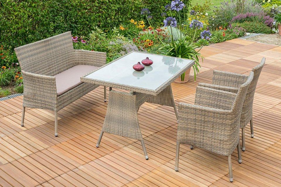 Merxx Gartenmobelset Trentino 7tlg 2 Sessel Bank Tisch