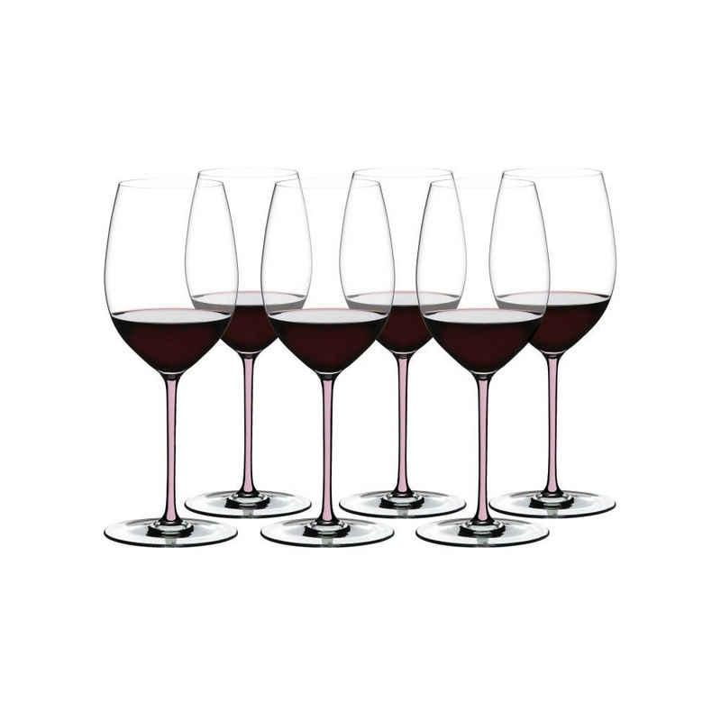 RIEDEL Glas Weinglas »Fatto A Mano Cabernet Merlot 6er Set, Pink«, Kristallglas