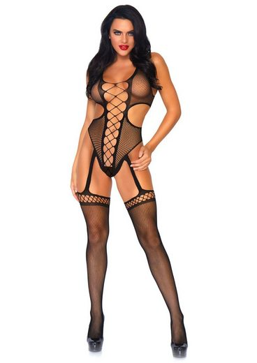 24costumes Slip »Crotchless body with stockings - Groesse: O/S - Farbe: Black«