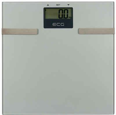 ECG Körper-Analyse-Waage »OV 126«, Messung von Körperfett, Wasser und Muskelmasse, Speicher für bis zu 12 Personen, Ultradünn (17 mm), Max. Tragkraft 150 kg