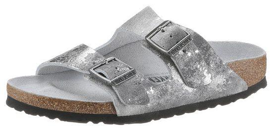 Birkenstock »Arizona vintage metallic« Pantolette im Metallic-Look, aus Veloursleder
