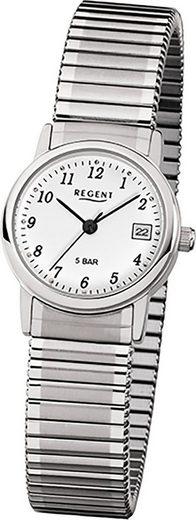 Regent Quarzuhr »D2URF888 Regent Edelstahl Damen Uhr F-888 Quarzuhr«, (Quarzuhr), Damenuhr mit Edelstahlarmband, rundes Gehäuse, klein (ca. 25mm), Elegant-Style