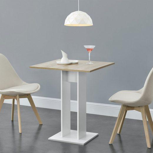 en.casa Küchentisch, »Lindesnes« Säulentisch quadratisch 65x65x78cm weiß/holzfarben
