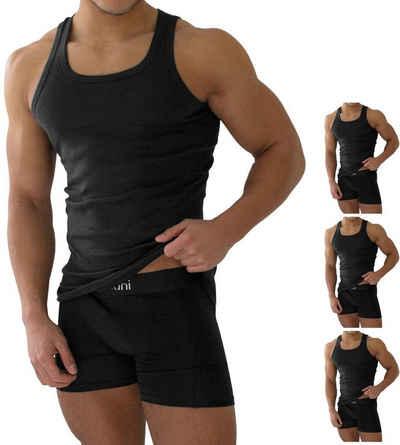 normani Unterhemd »4 Stück Herren-Unterhemd Feinripp Schwarz«, mit Feinrippung
