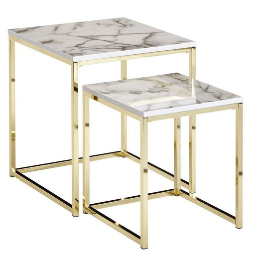 Wohnling Satztisch »WL6.249«, 2er Set Weiß Marmor Optik Eckig Couchtisch 2-teilig Tischgestell Metall Gold Kleine Wohnzimmertische Moderne Satztische Quadratisch