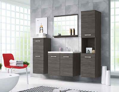 Feldmann-Wohnen Badmöbel-Set »MALO«, (Set, 5-St., 2 Hängeschränke + 1 Spiegel + 1 Waschbeckenunterschrank + 1 Waschbecken), Farbe wählbar