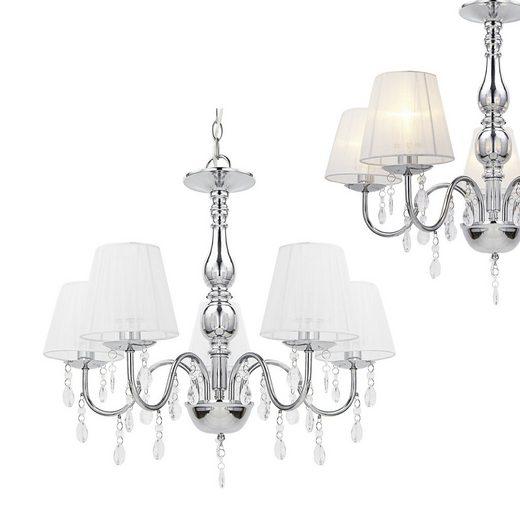 lux.pro Kronleuchter, »lsabelle« Elegante Hängeleuchte mit Kunstkristallen 5xE14 Weiß