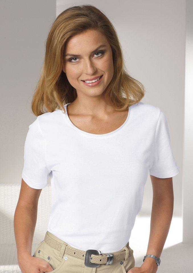 Collection L. Shirt aus reiner Baumwolle in korallenrot