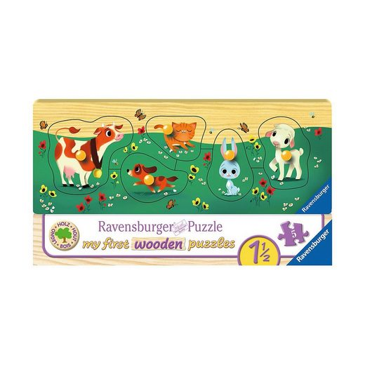 Ravensburger Steckpuzzle »Holz-Puzzle, 5 Teile, 24x9 cm, Liebste Tierfreunde«, Puzzleteile