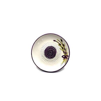 Kaladia Multireibe »Reibeteller in lila und weiß mit Blütenmuster«, Keramik, handbemalte Küchenreibe - Made in Spain