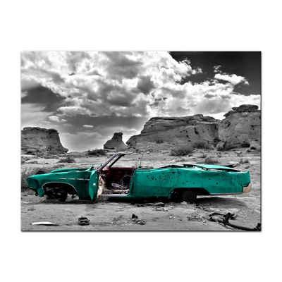 Bilderdepot24 Leinwandbild »Cadillac - türkis«, Fahrzeuge