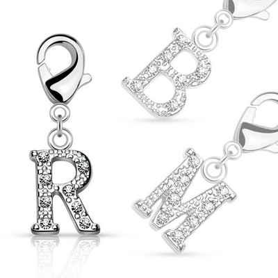 BUNGSA Kettenanhänger »Anhänger Buchstaben Silber aus Messing Unisex« (inkl. Schmuckbeutel aus Organza), Pendant Damen Herren Halsketten Geschenk