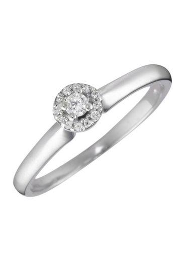 Firetti Verlobungsring »Vorsteckring, Weißgold, Ø Ringkopf 5 mm«, mit Diamanten