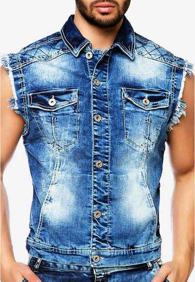 Cipo & Baxx Jeansweste mit coolem Hemdkragen
