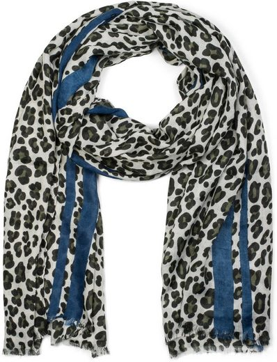 styleBREAKER Schal »Weicher Schal mit Leoparden Print und Streifen« Weicher Schal mit Leoparden Print und Streifen