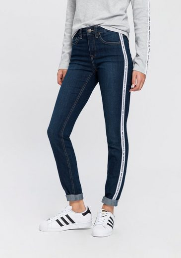 Arizona Slim-fit-Jeans High Waist mit coolem Seitenstreifen