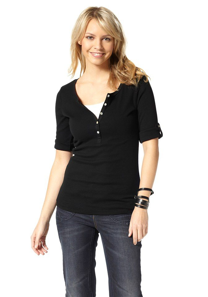 Flashlights 3/4-Arm-Shirt mit Knopfleiste in schwarz