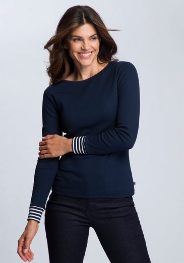 Sea Ranch Langarmshirt »Sandie« Leicht gerippte, figurbetonende Qualität und geringelter Ärmelsaum