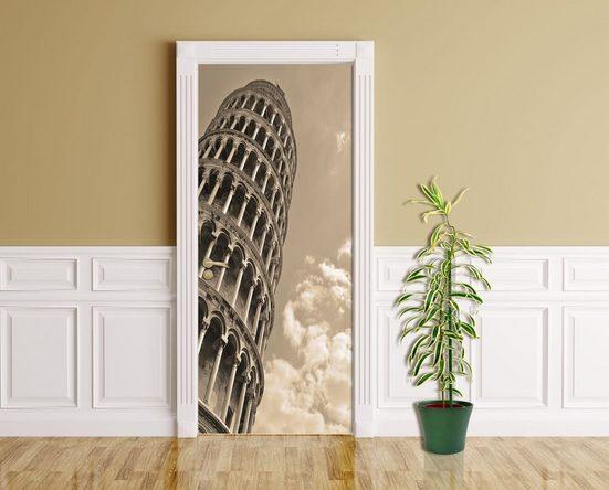 Bilderdepot24 Türtapete, schiefer Turm von Pisa, selbstklebendes Vinyl