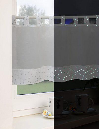 Scheibengardine »Schlaufengardine Kurzgardine Bistrogardine 2405 Leuchtet im Dunkeln Weiß 48x140 cm«, EXPERIENCE, Schlaufen (1 Stück), Store