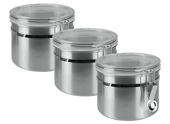 Metaltex Vorratsdose, Edelstahl, (3-tlg), Inox-Verschluss