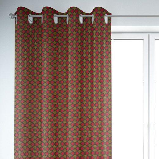 Vorhang »SCHÖNER LEBEN. Vorhang Ginkgo Blätter rot ocker schwarz 245cm oder Wunschlänge«, SCHÖNER LEBEN., Ösen (1 Stück)