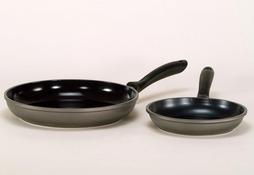Set: Aluguß-Pfannen mit Keramik-Beschichtung, Krüger, »POTSDAM« (2tlg.) in grau
