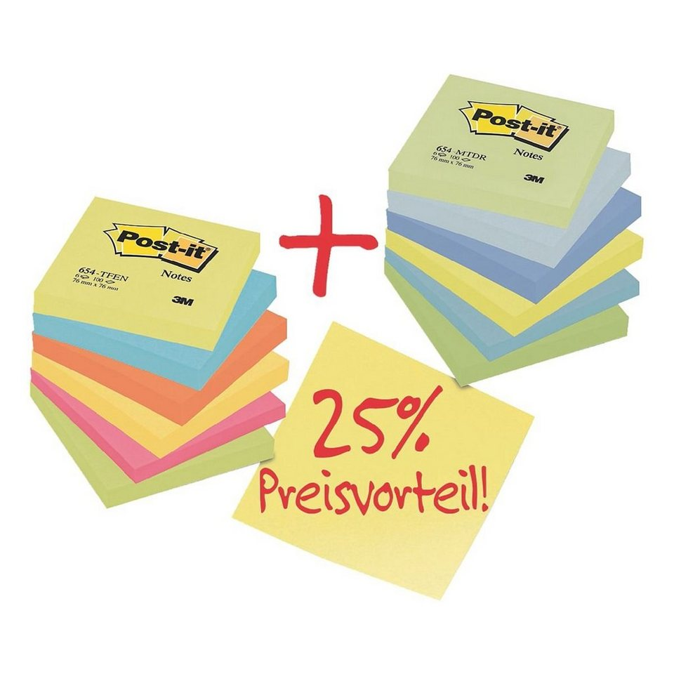 POSTITNOTES 12er-Set Haftnotizblock »Active Collection 654 & Dr...