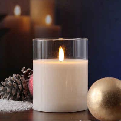 MARELIDA LED-Kerze »LED Kerze Windlicht im Glas Echtwachs flackernd Timer H: 17,5cm rund weiß«