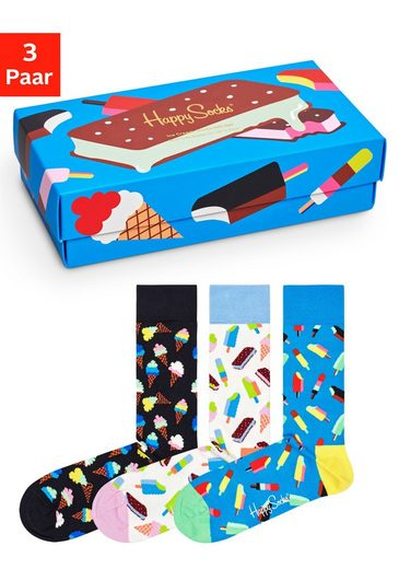Happy Socks Socken »Ice Cream« (Box, 3-Paar) in lustiger Geschenkbox