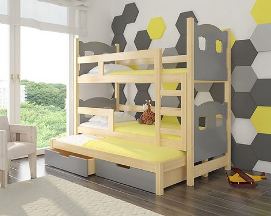 Feldmann-Wohnen Hochbett »LETICIA« (Etagenbett mit 3 Schlafgelegenheiten) Farbe wählbar