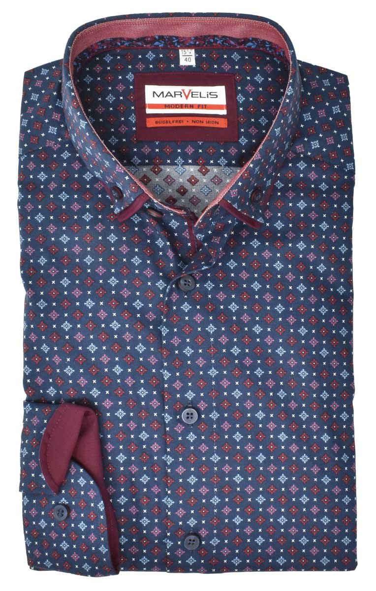MARVELIS Businesshemd »Businesshemd - Modern Fit - Langarm - Muster - Blau/Bordeaux« Allover-Print