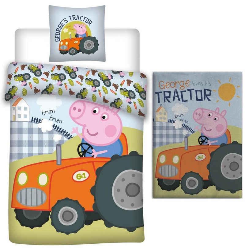 Babybettwäsche »Peppa Pig - George Traktor - Baby-Bettwäsche-Set, 100x135 und Fleecedecke, 100x140«, Peppa Pig, 100% Baumwolle