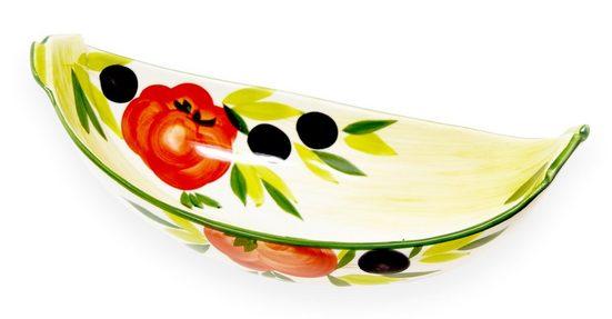 Lashuma Obstschale »Tomate Olive«, Keramik, Servierschale handbemalt, Ovale Obstschüssel 30x14 cm