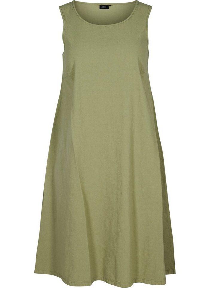 zizzi -  Sommerkleid Große Größen Damen Ärmelloses Kleid aus Baumwolle mit A-Linie