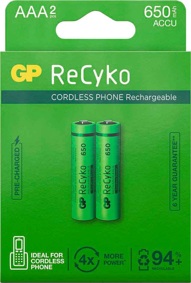 GP Batteries »AAA Akku GP NiMH 650 mAh ReCyko 1,2V 2 Stück« Akku AAA 650 mAh (2 St)