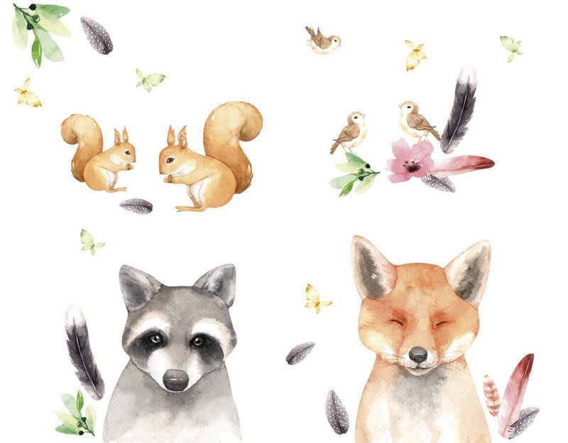 "anna wand Wandsticker »""Friendly Forest"" grau/braun/grün - Wandtattoo Waldtiere«"