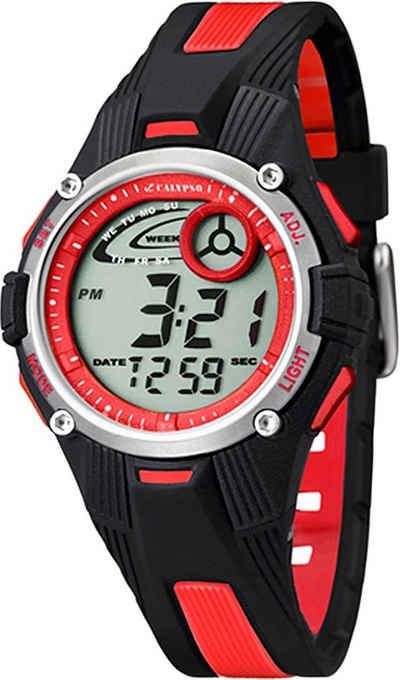 CALYPSO WATCHES Digitaluhr »UK5558/5 Calypso Kinder Uhr K5558/5 Kunststoffband«, (Digitaluhr), Damen/Herren Armbanduhr rund, PURarmband schwarz/rot, Sport