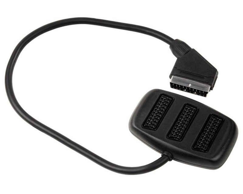 Hama »Scart-Verteiler 3-Fach Umschalter Scart-Kabel« Video-Adapter Scart zu Scart, 1>3 TV AV Stecker Rundkabel