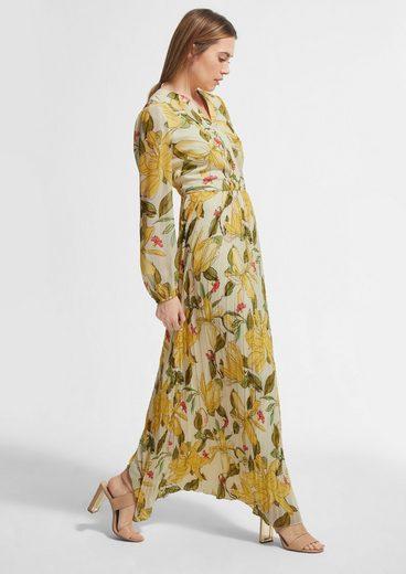 Comma Maxikleid »Chiffon-Kleid mit plissiertem Rock«
