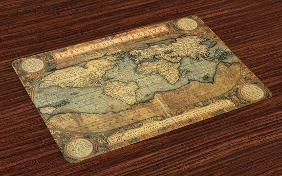 Tischdecke, »Waschbare Stoff Esszimmer Küche Tischdekorations Digitaldruck«, Abakuhaus, (4-teilig, 4 Teilig-St., Set aus 4x), altertümlich Vintage Atlas Old-Diagramm