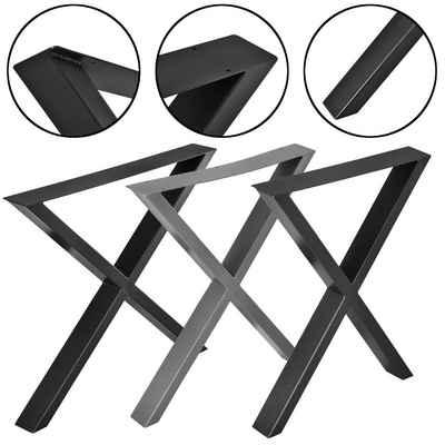 en.casa Untergestell, 2x Tischgestell X-Form im Set für DIY Esstisch, Beistelltisch, Couchtisch, Bank, uvm. - in verschiedenen Farben und Größen
