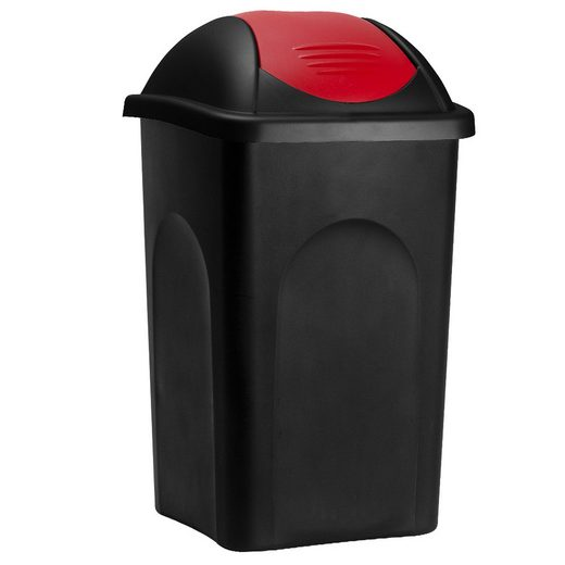 Deuba Mülleimer »Push Can«, 60 L Schwarz Rot Abfallbehälter 68x41x41cm Papierkorb Müllsystemtrennung Küche