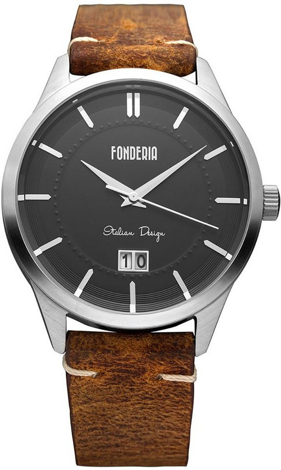 fonderia -  Chronograph »UAP6A010UN2  Herren Uhr P-6A010UN2 Leder«, (Analoguhr), Herren Armbanduhr rund, groß (ca. 41mm), Lederarmband braun