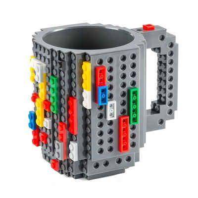Goods+Gadgets Tasse »Brick Mug Tasse mit Bausteinen«, Kunststoff, Kaffeetasse Kaffee-Becher 350ml