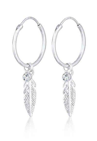 Elli Paar Creolen »Creole Feder Einhänger Kristalle 925 Silber«