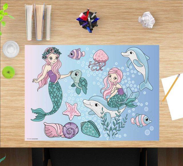 Kindertische - cover your desk.de Schreibtischaufsatz »Schreibtischunterlage für Kinder – Meerjungfrauen unter Wasser – 60 x 40 cm – aus hochwertigem Vinyl«, (1 St)  - Onlineshop OTTO